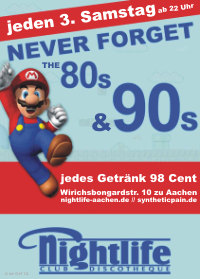"Flugblatt ""Never forget the 80s & 90s"""